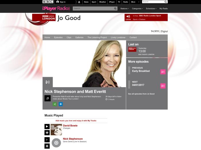 BBC Radio London: www.bbc.co.uk/programmes/p04m00g7