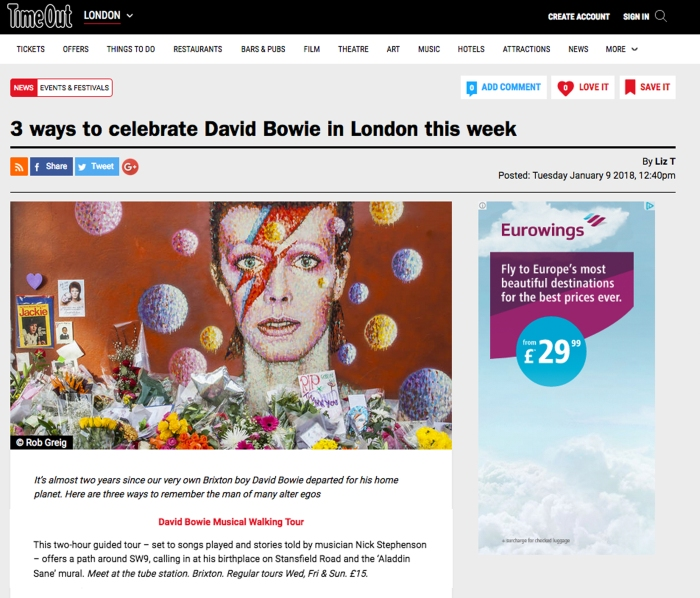 Time Out Bowie Canvas
